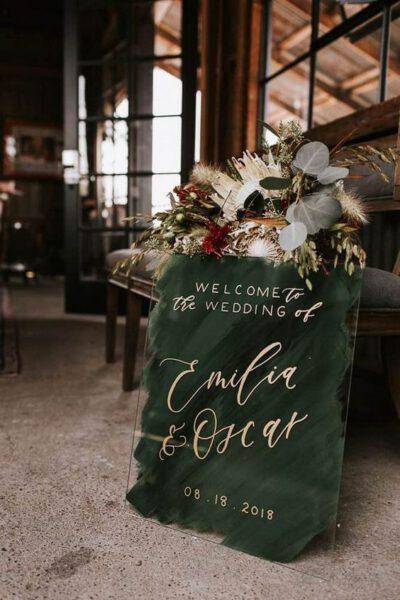 Winter bruiloft decoratie - welkomstbord bruiloft